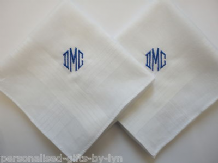 2 Personalised Handkerchiefs - Mens - Gents